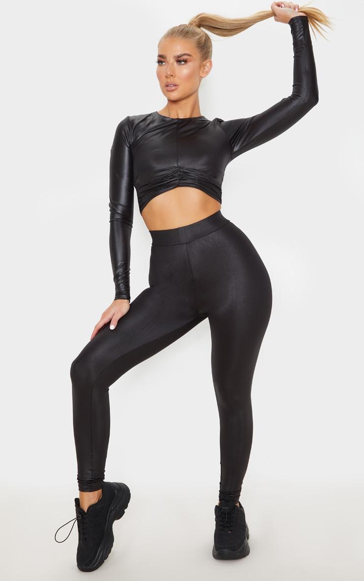 Black Shine Cross Front Long Sleeve Gym Top 4