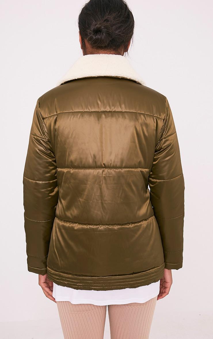 Brai Khaki Satin Faux Shearling Collar Puffer Coat 2