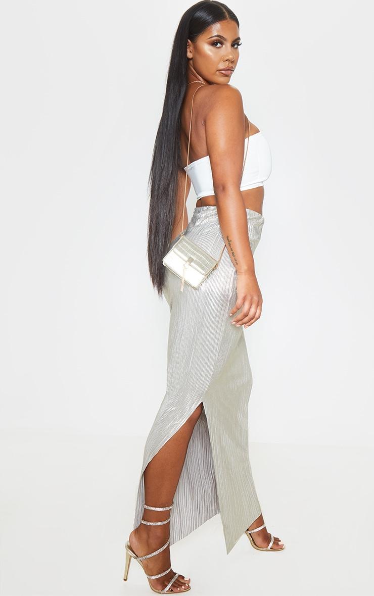 Longue jupe plissée dorée métallique  5