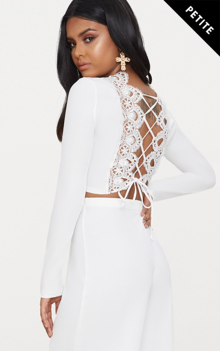 Petite White Lace Up Back Long Sleeve Crop Top  1