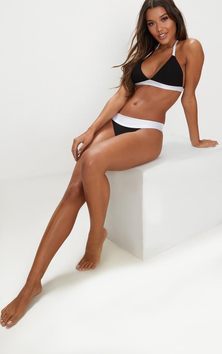Black and White Mini Triangle Contrast Bikini Top 1