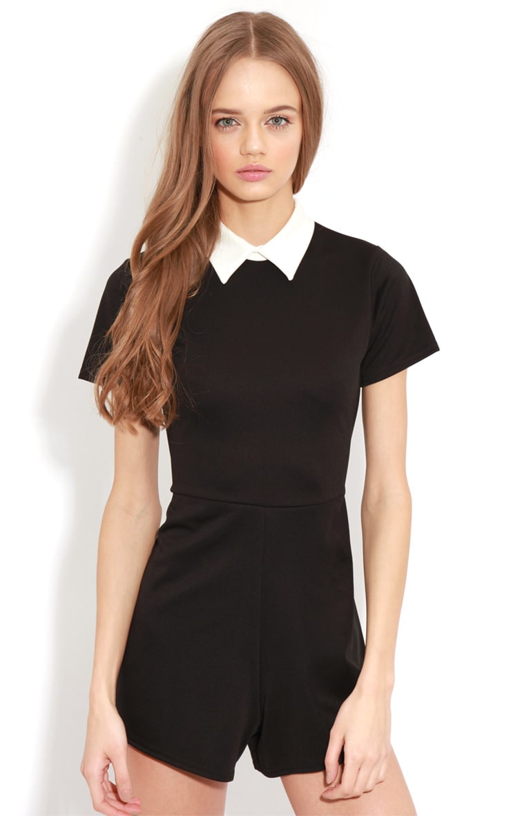 Dylon Black Playsuit With White Collar 4