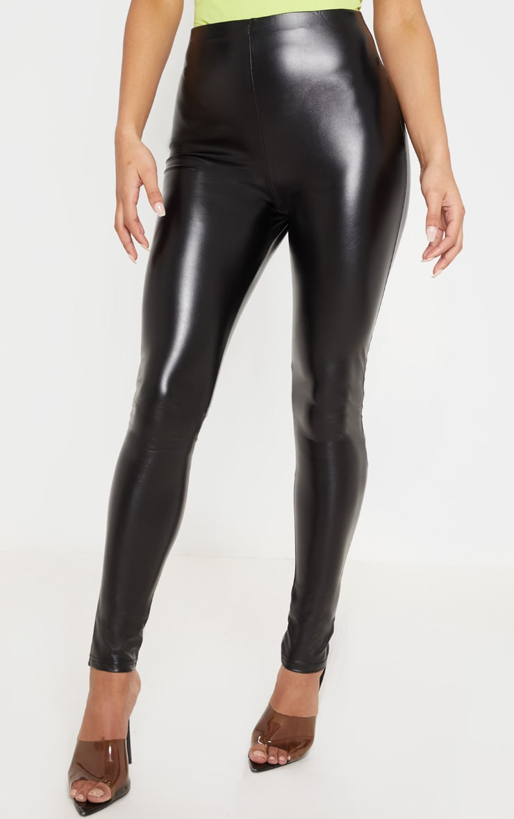 Black Faux Leather Ruched Bum Legging 2