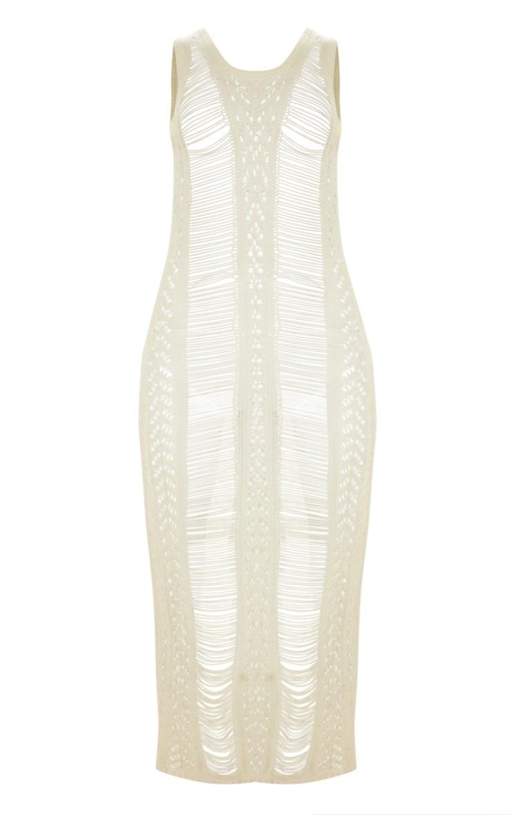 Cream Crochet Ladder Detail Maxi Dress 6
