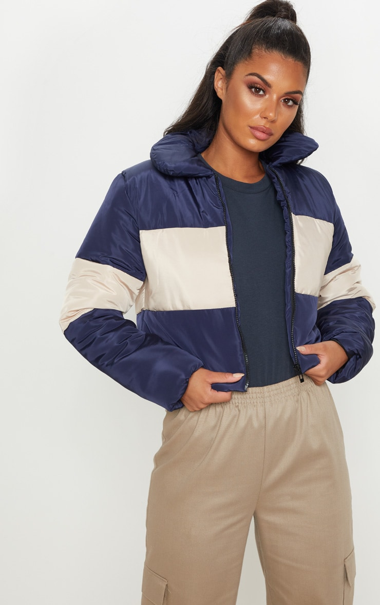 Navy Cropped Colour Block Puffer