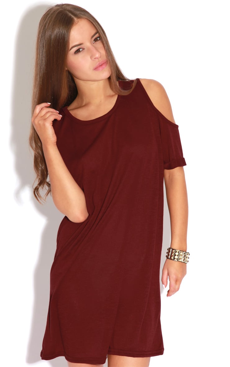 Mahlee Burgundy Cut Out Shoulder Dress-S/M 1