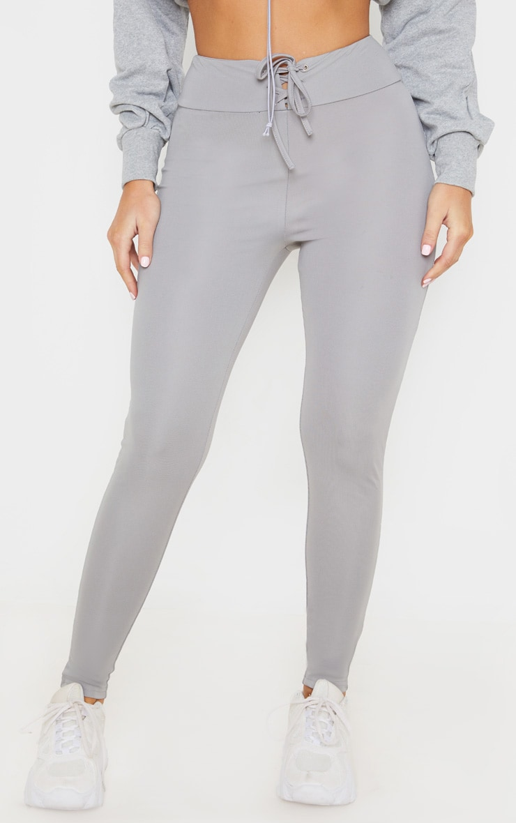 Grey Lace Up High Waisted Leggings 2