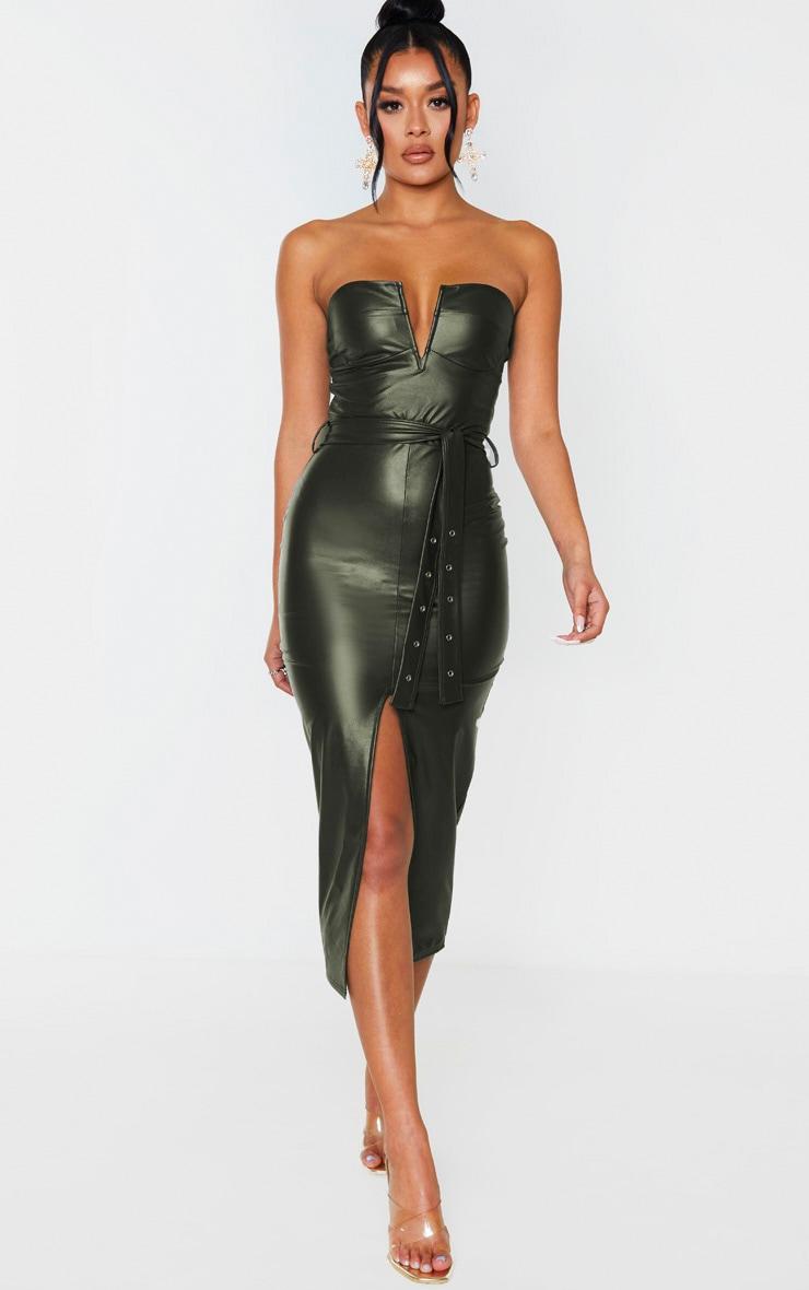 Khaki PU Bandeau Belted Split Detail Midi Dress 1