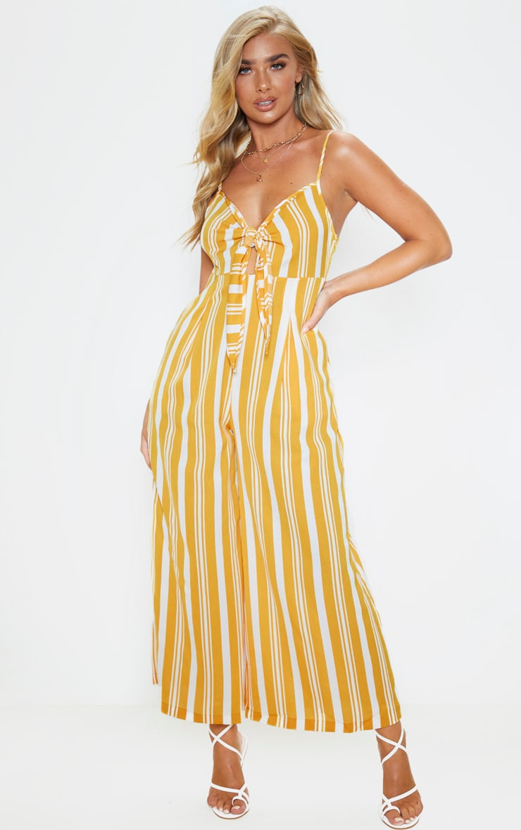 Yellow Strappy Stripe Print Jumpsuit 1