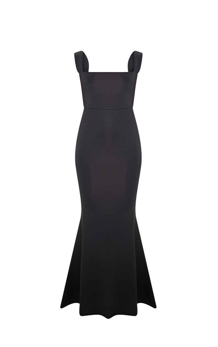 Black Strappy Square Neck Maxi Dress 3