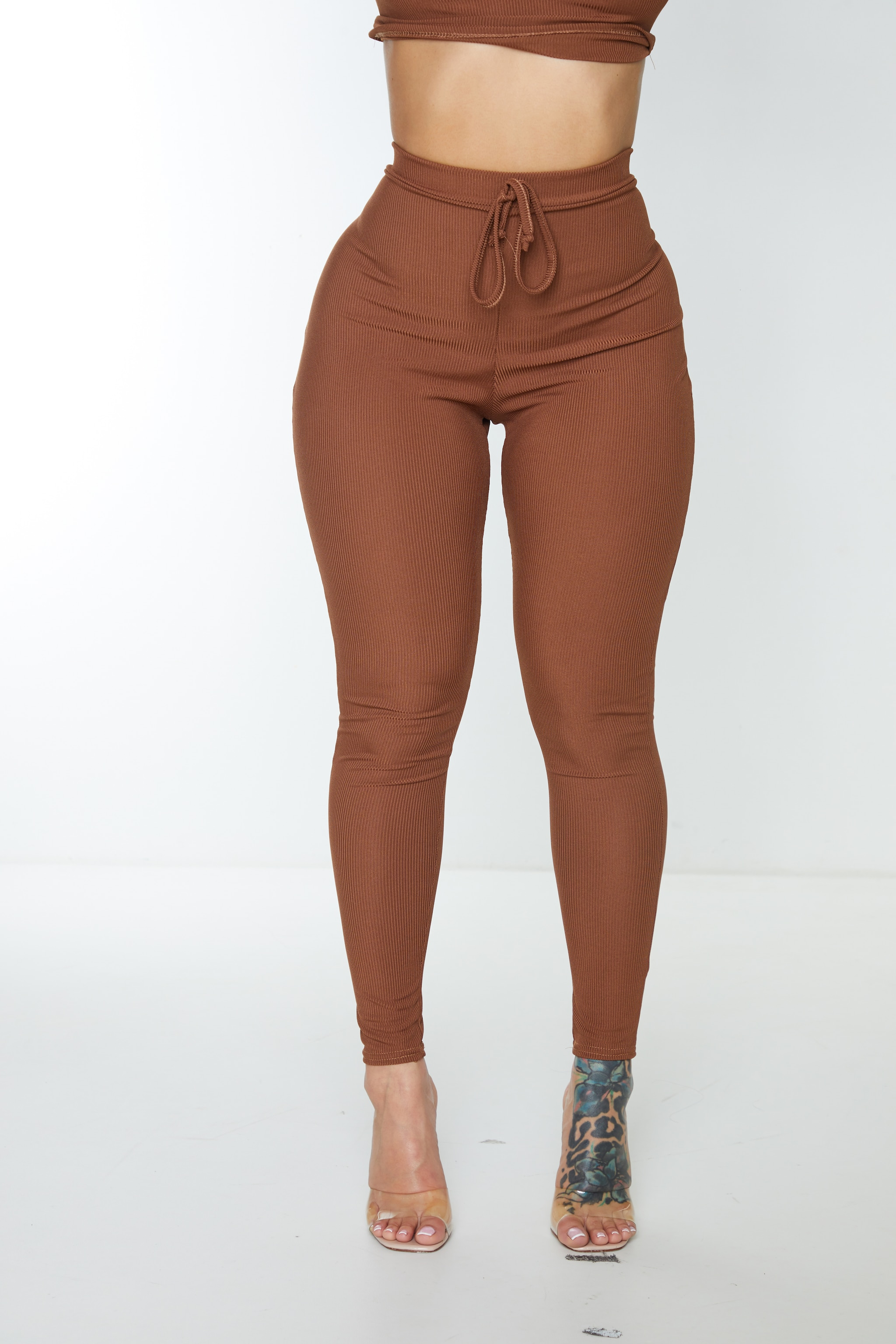 Shape Chocolate Brown Ribbed Detail High Waist Leggings 5