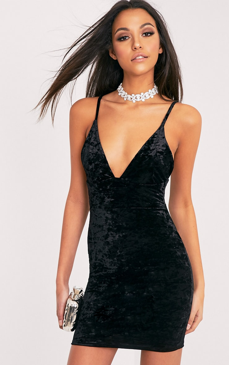 Carlisa Black Velvet Strappy Bodycon Dress 1