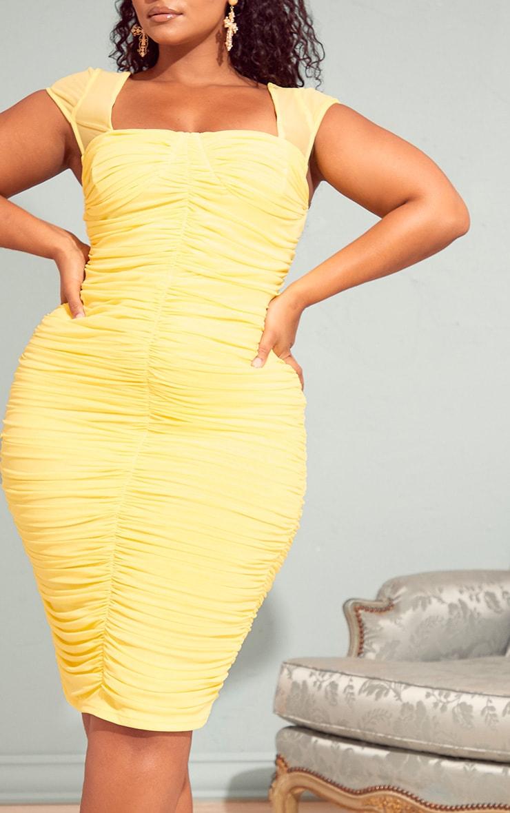 Plus Lemon Mesh Ruched Midi Dress 4