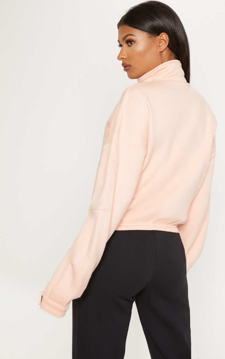Dusty Pink Oversized Zip Front Sweater 2
