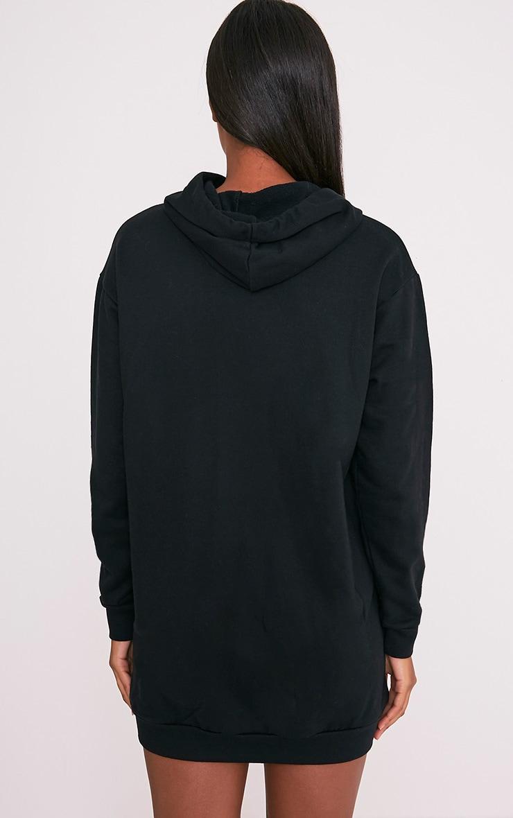 Bexie robe sweat noire à lacets et à capuche 2