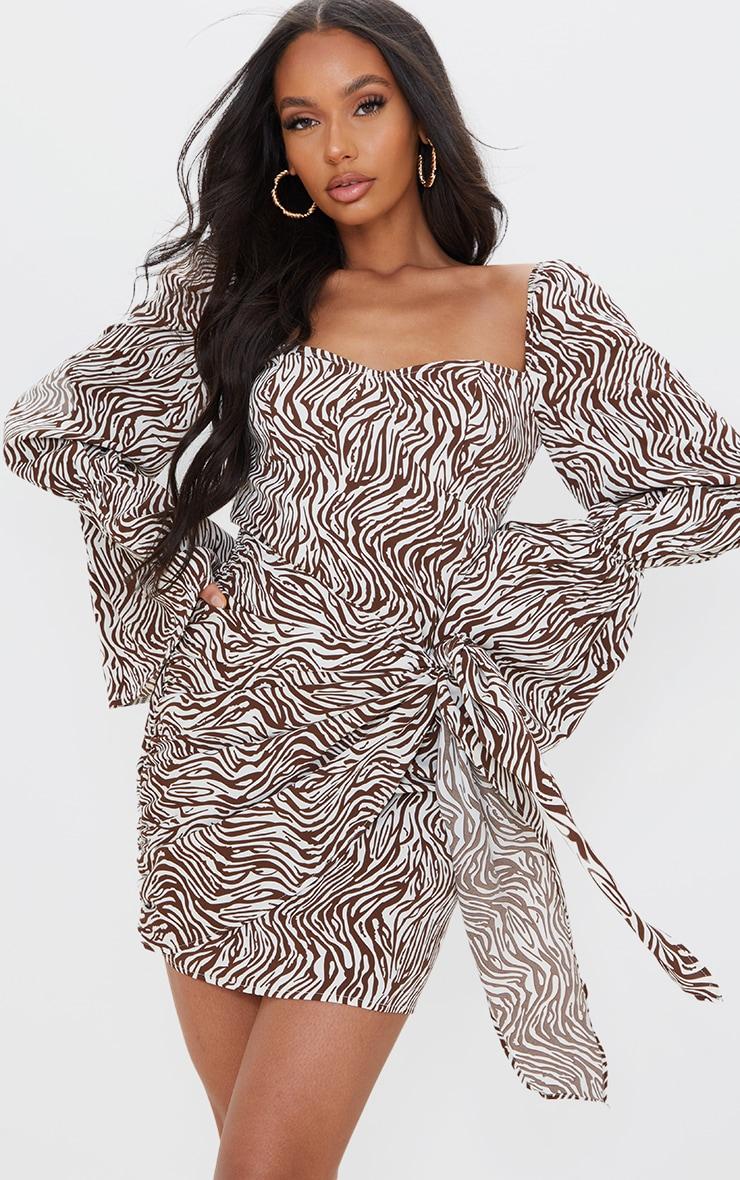 Brown Zebra Print Balloon Sleeve Draped Bodycon Dress 1