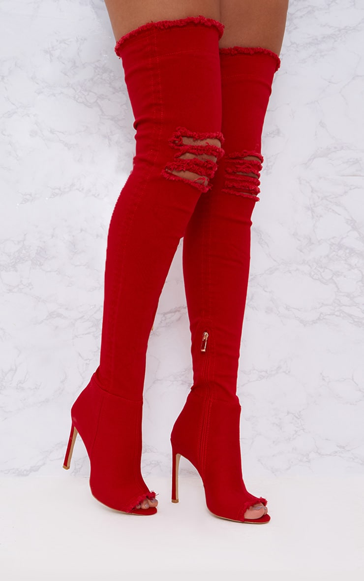 Red Distressed Denim Thigh Boots 1