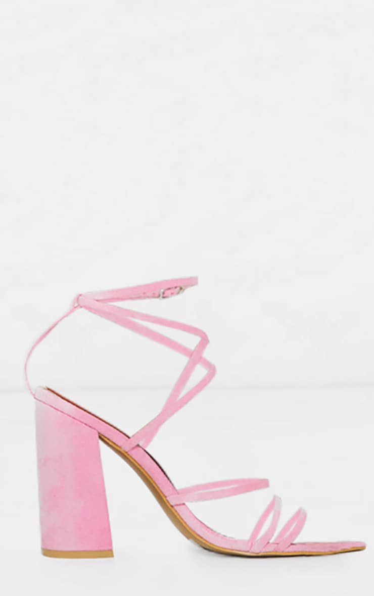 Pink Faux Suede Strappy Point Toe Block Heel Sandals  3