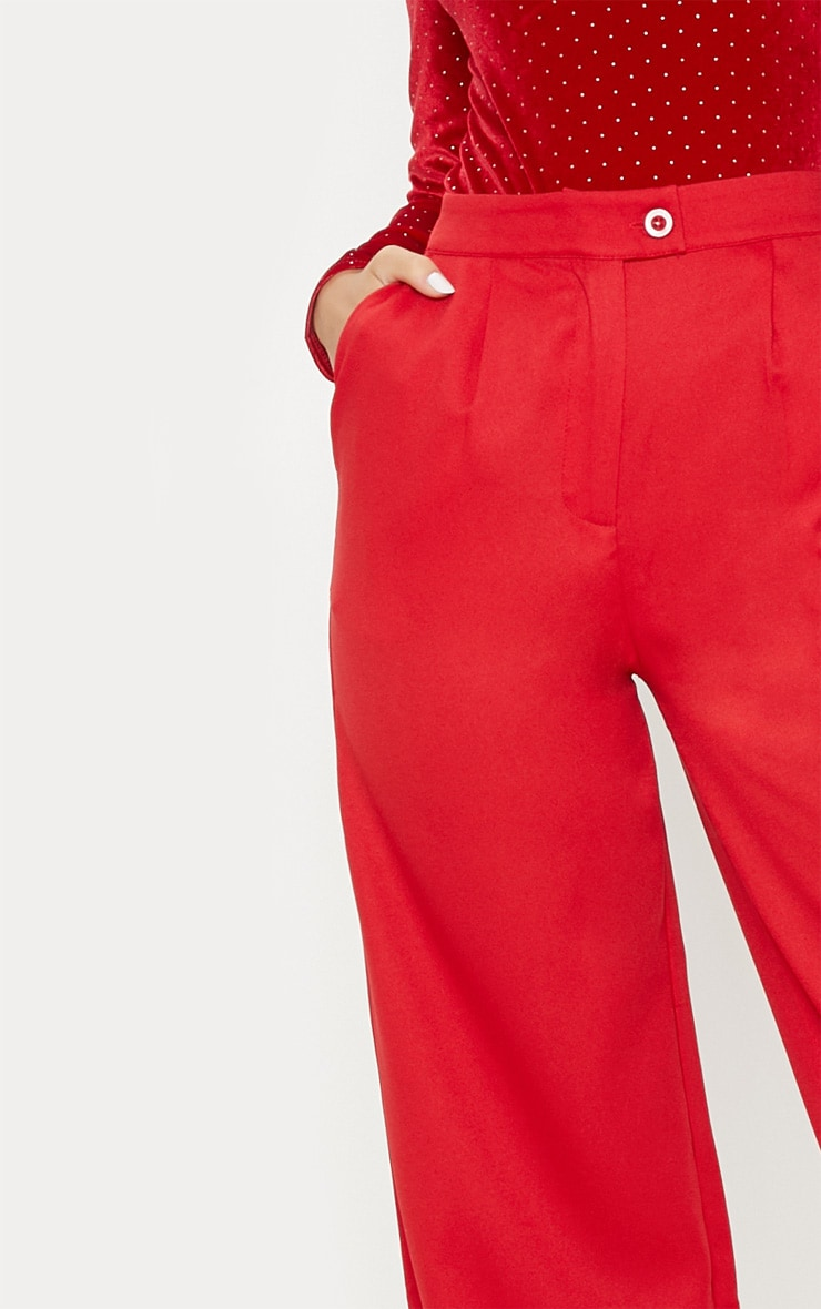 Red Formal Button Wide Leg Trouser 5