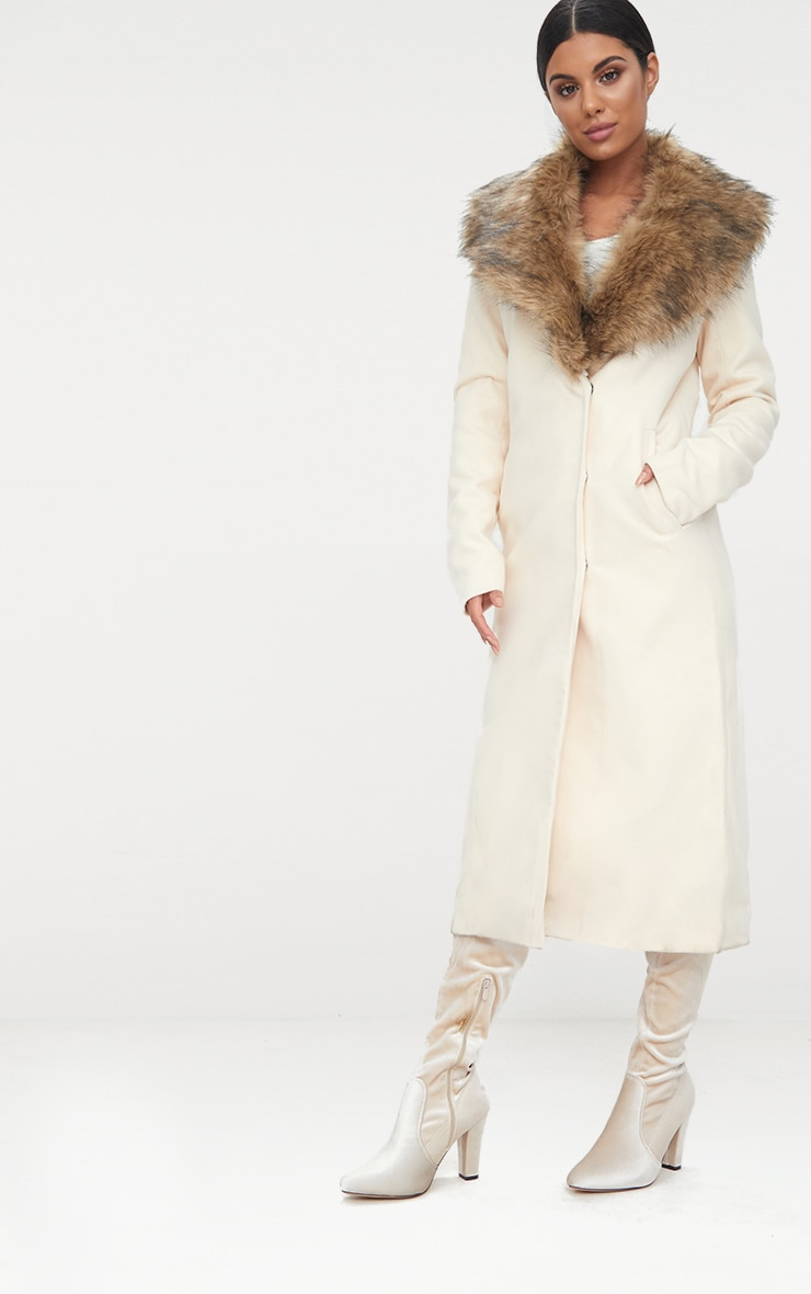 Cream Faux Fur Collar Double Breasted Coat 4