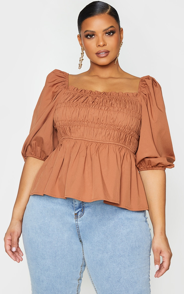 Plus Brown Shirred Puff Sleeve Blouse 3