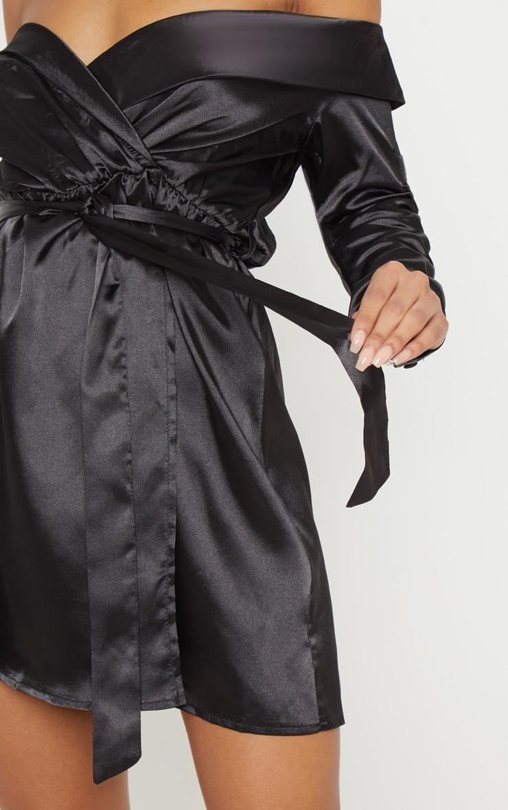 Black Satin Bardot Tie Waist Shift Dress 5