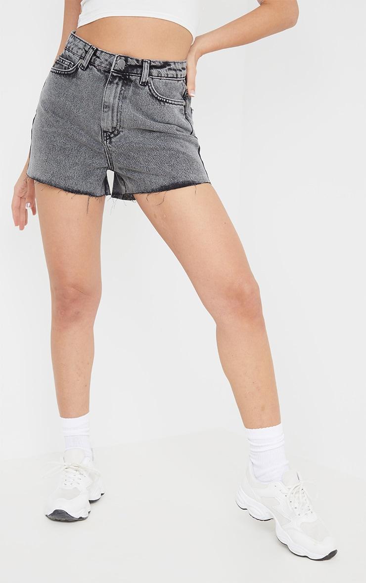 Washed Grey Raw Hem Mom Shorts 2
