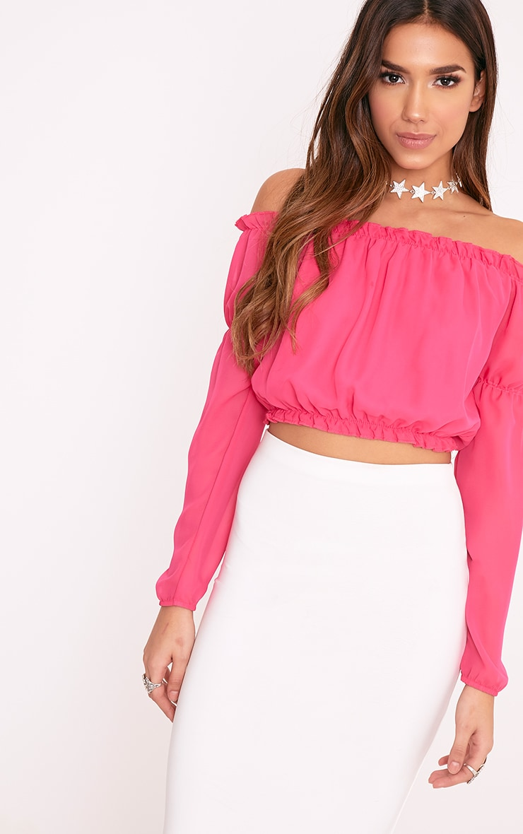 Karon Hot Pink Woven Bardot Crop Top 1