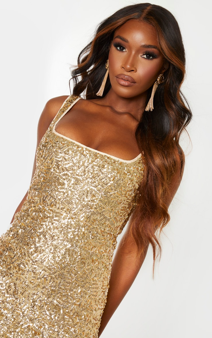Gold Sequin Sleeveless Square Neck Bodycon Dress 5