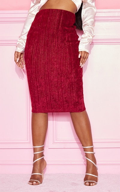 Burgundy Crushed Ribbed Midi Skirt