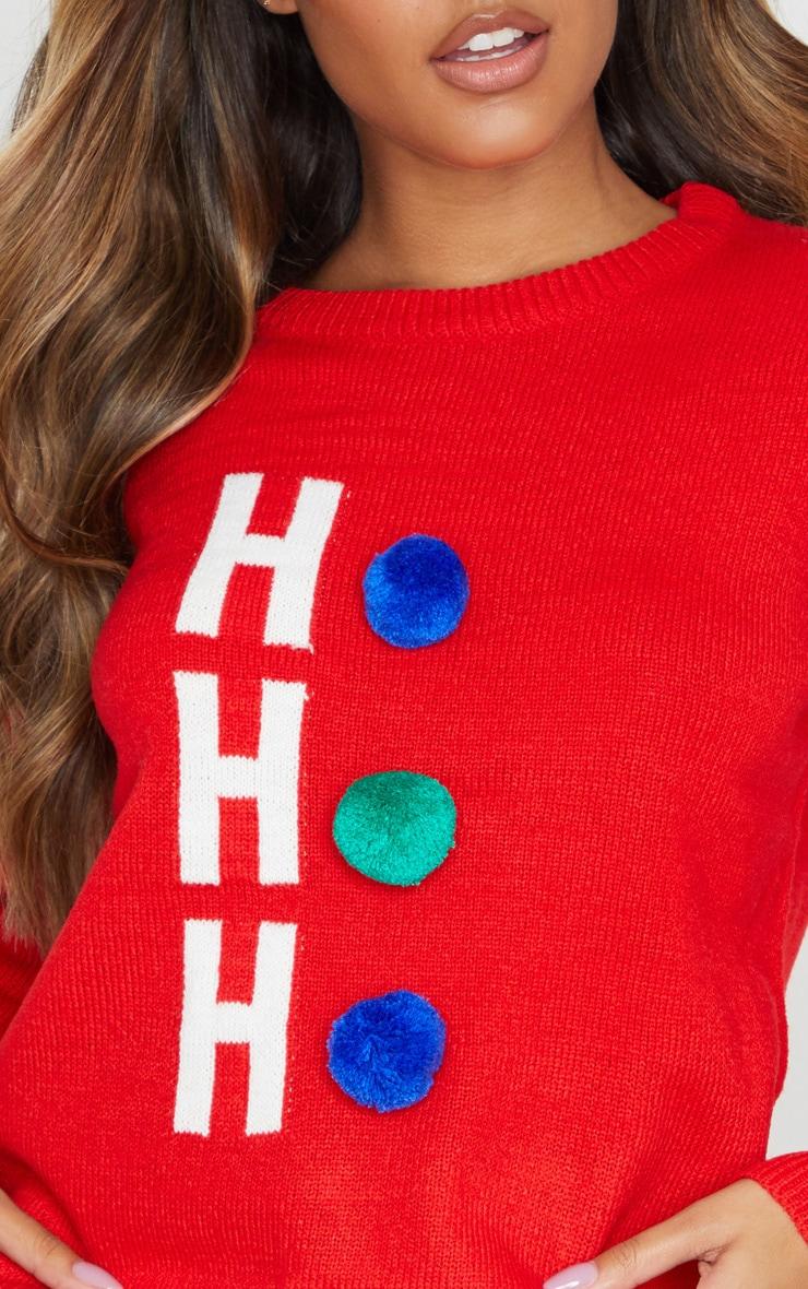 Red Ho Ho Ho Pom Pom Christmas Jumper 5