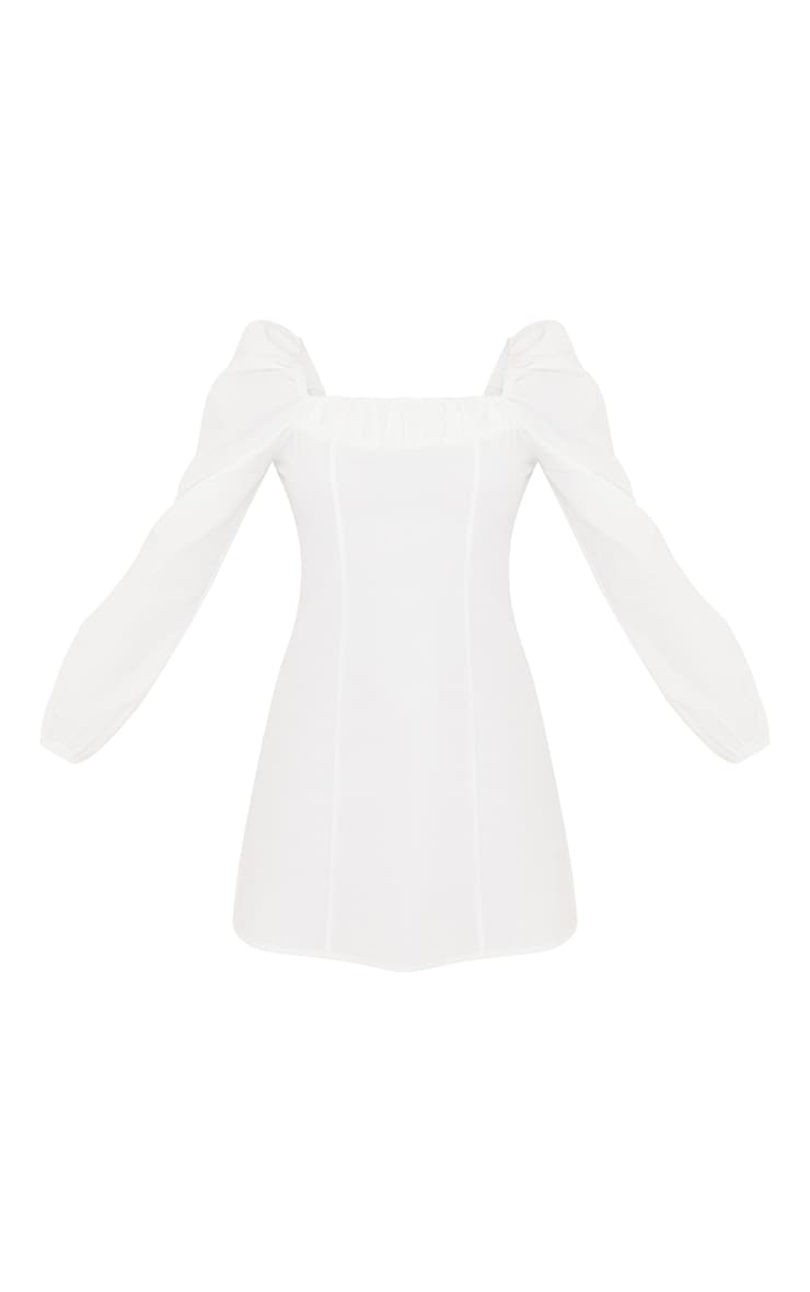 White Ruched Detail Puff Long Sleeve A Line Shift Dress 5