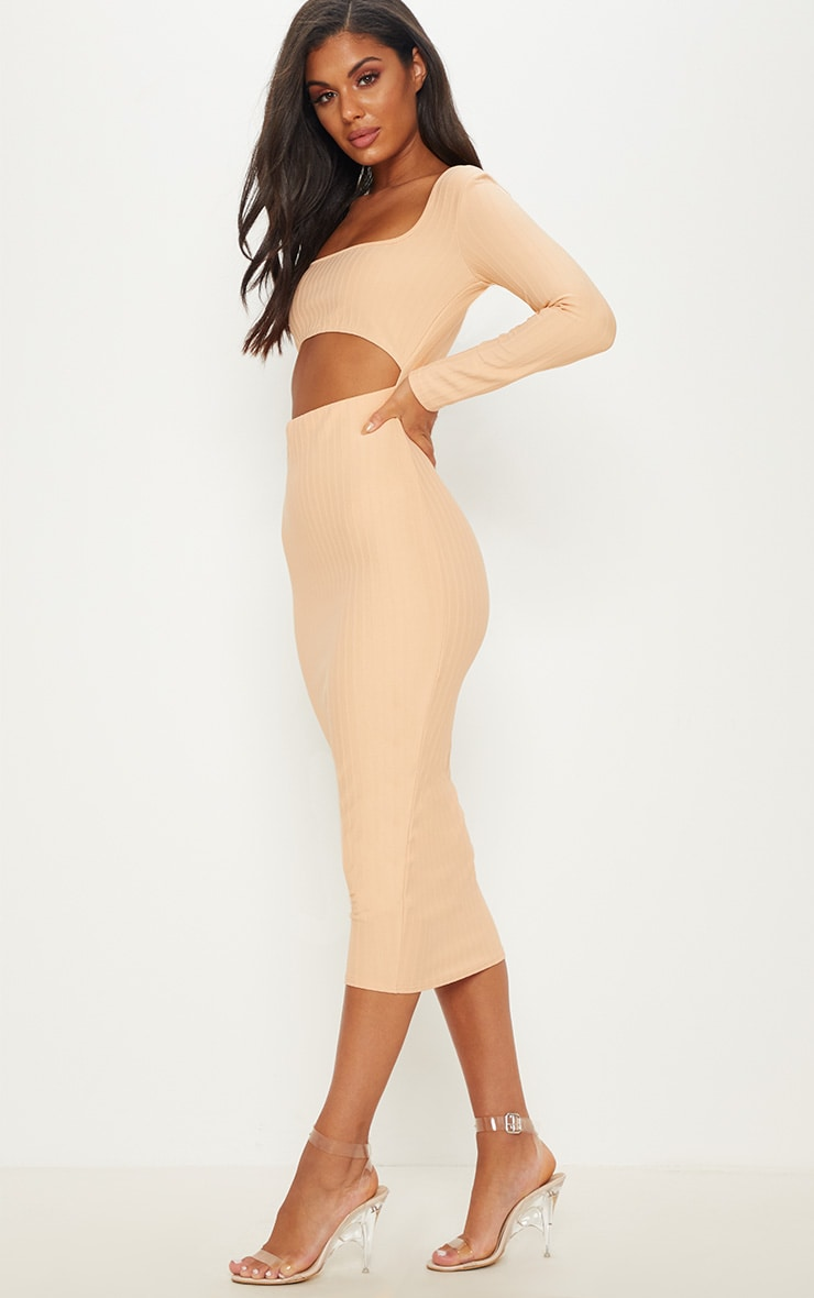 Nude  Bandage Long Sleeve Cut Out Midaxi Dress 4