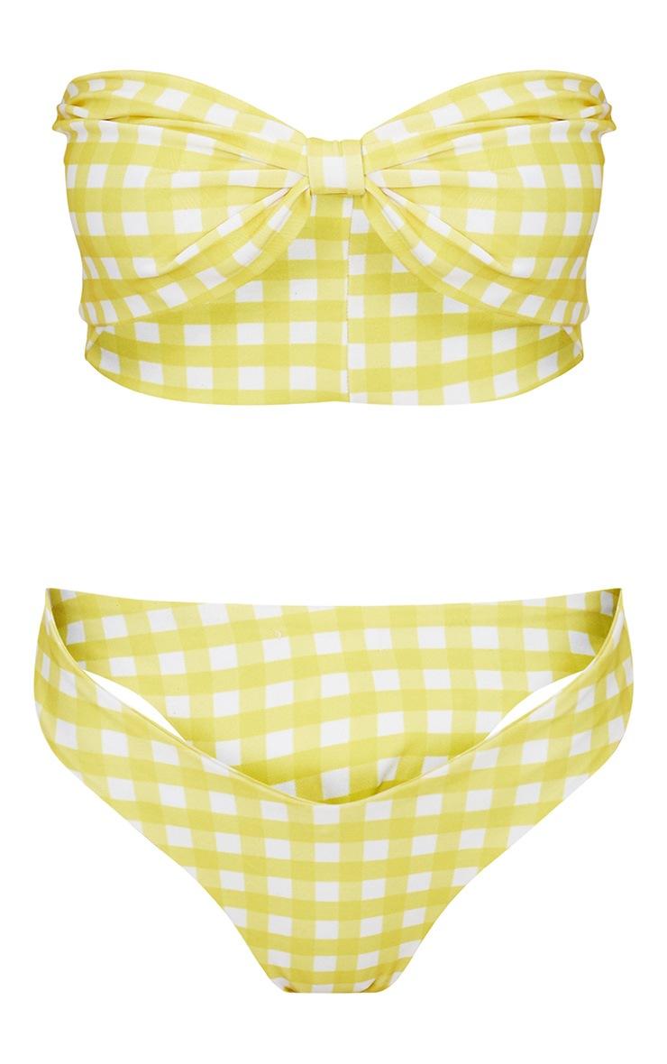 Yellow Gingham Bow Bikini Set 3
