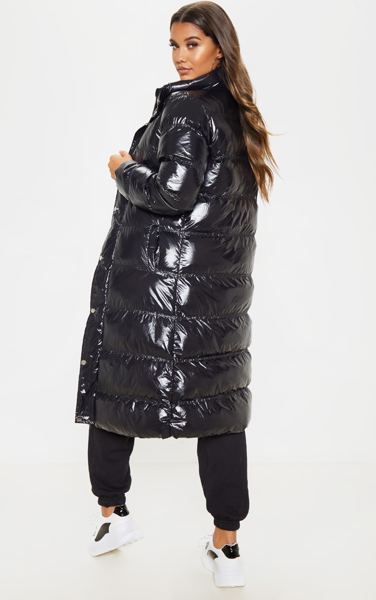 Black Maxi High Shine Fitted Puffer 2