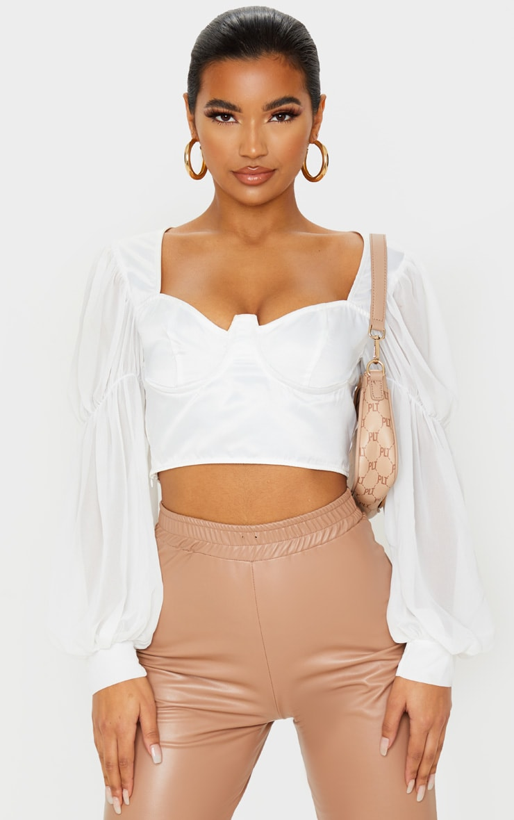 White Satin V-Wire Underbust Sheer Sleeve Cropped Blouse 1