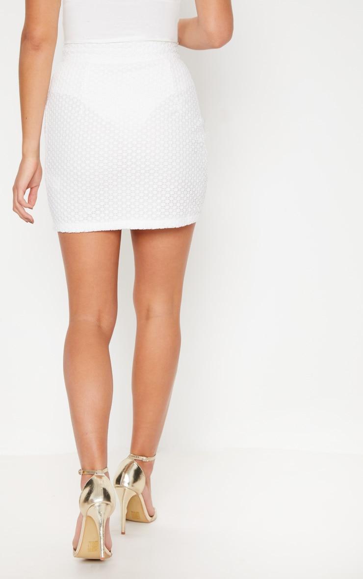 White Eyelet Detail Crochet Mini Skirt 4