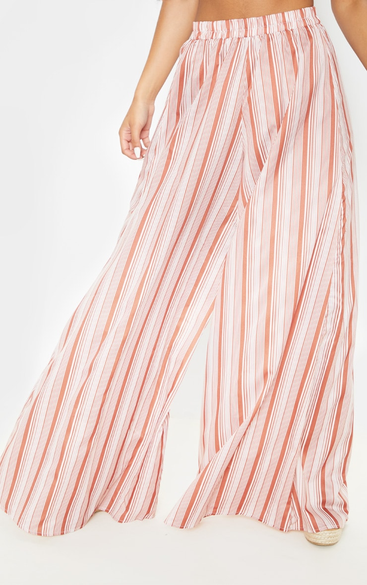 Rust Stripe Extreme Wide Leg Floaty Trouser 2