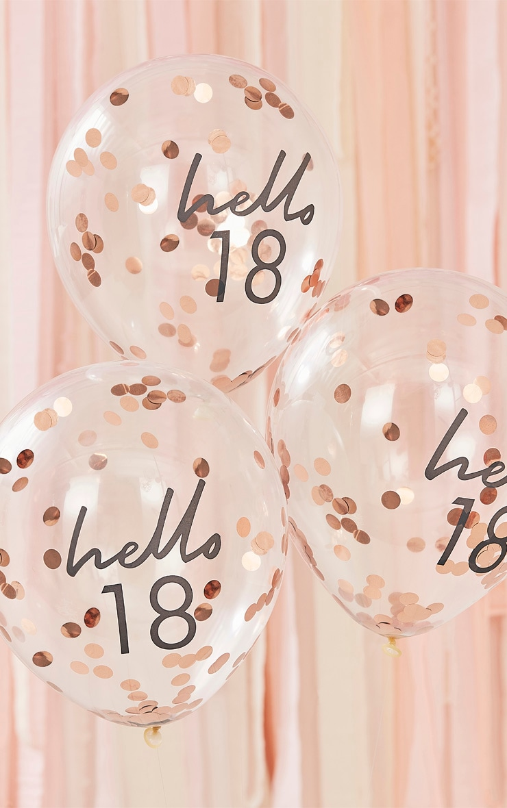 Ginger Ray - Lot de 5 ballons à confettis rose gold et slogan Hello 18 1