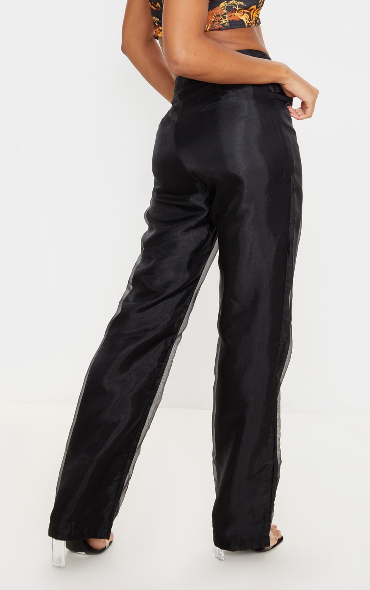 Black Organza Straight Leg Pants 4