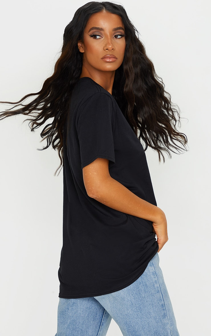 PRETTYLITTLETHING Black Oversized Embroidered T Shirt 2