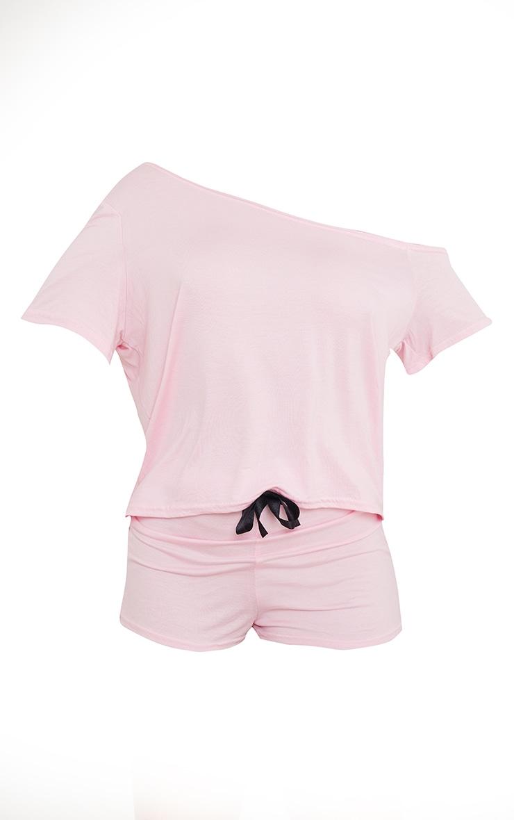 Pink Off The Shoulder Top & Shorts PJ Set 5