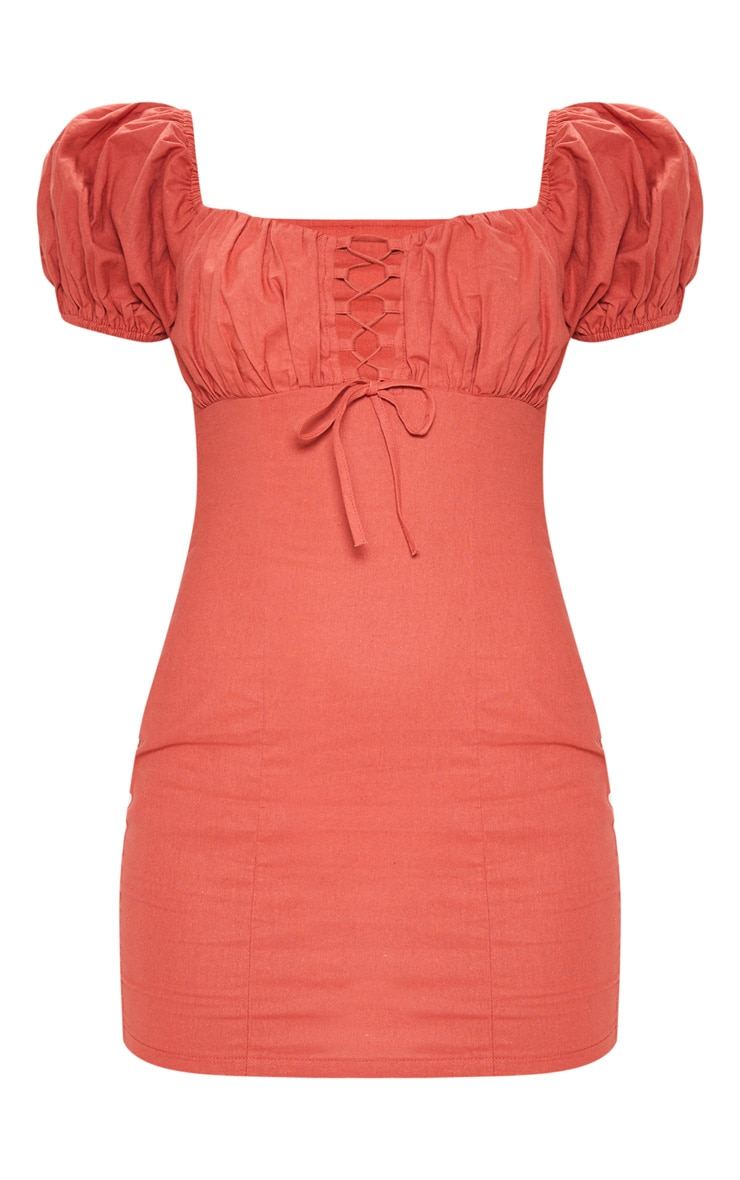 Rust Ruched Cup Lace Up Bodycon Dress 3