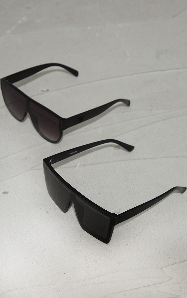 Black Recycled Plastic Oversized Flat Brow Frame Sunglasses 2 Pack 1