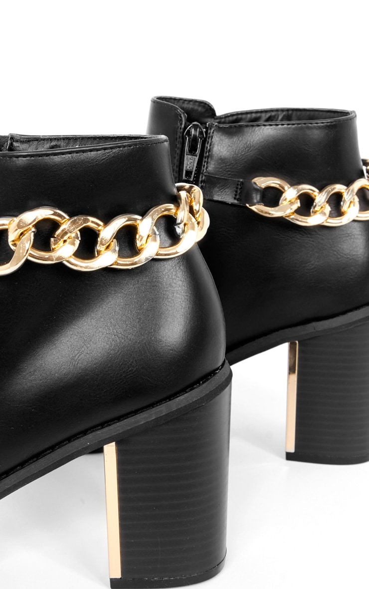 Gina Black Gold Chain Detail Heeled Boot  5