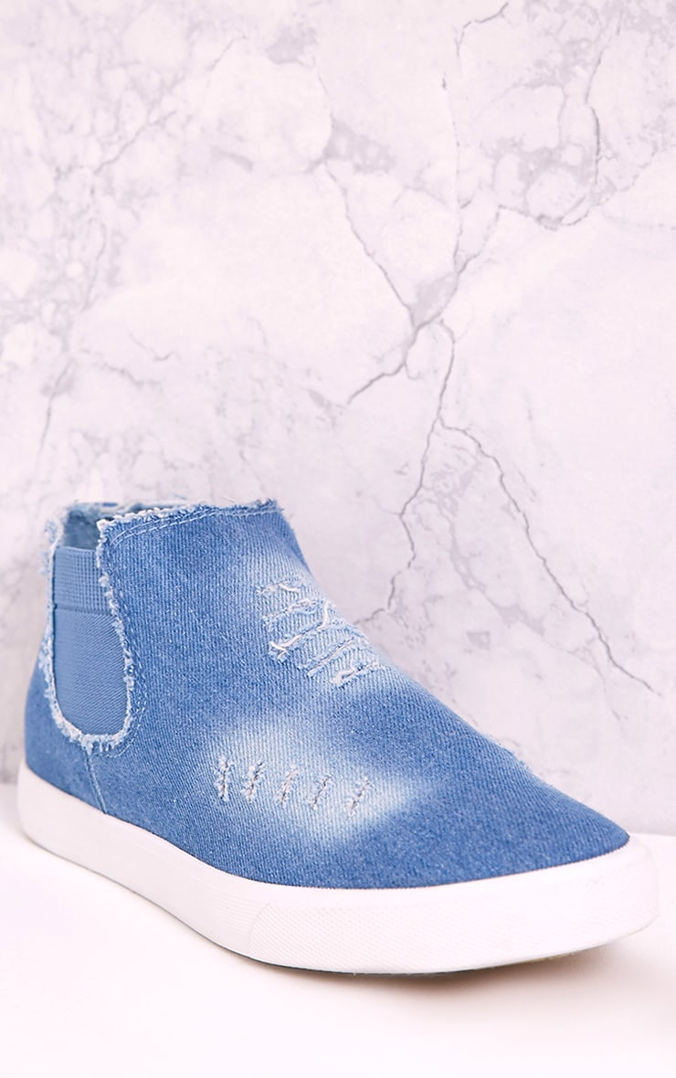 Gia Mid Blue Wash Ripped Denim Slip on Trainers 5