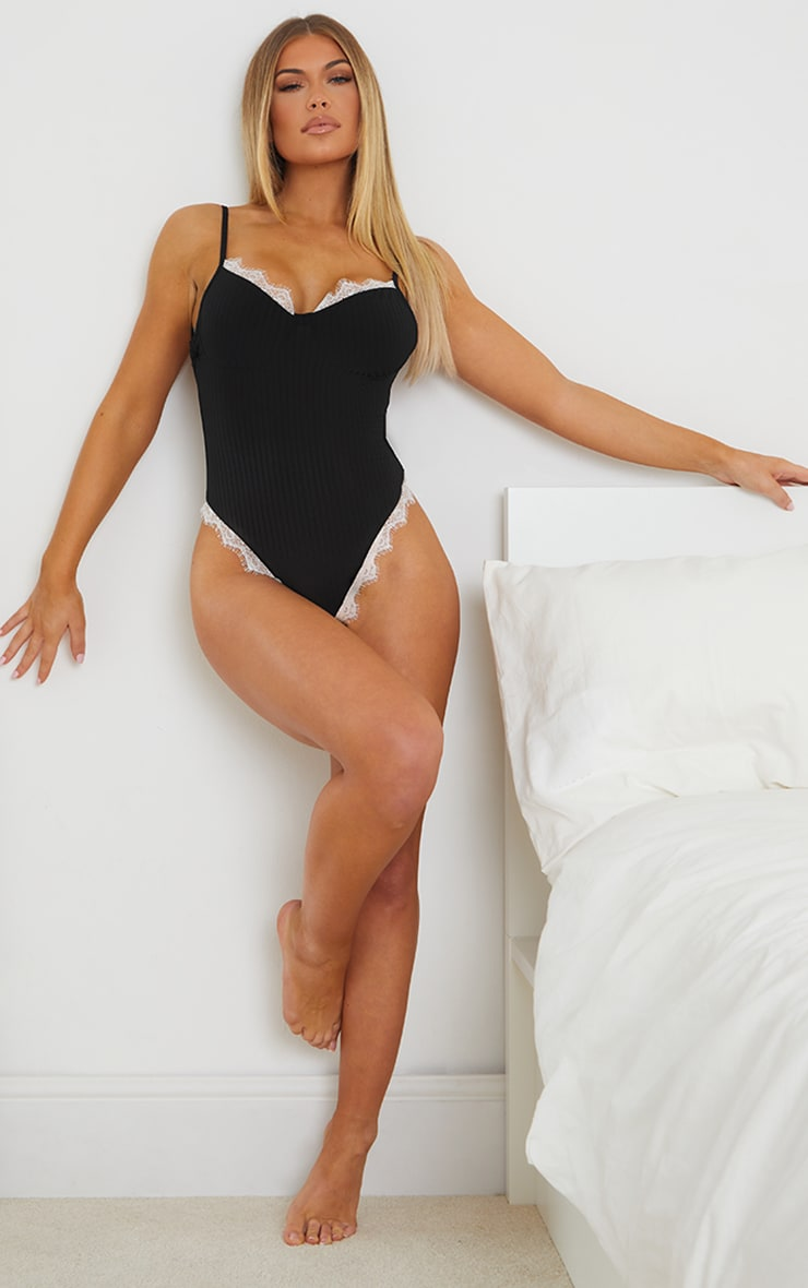 PRETTYLITTLETHING X CoppaFeel! Black Lace Trim Ribbed Body 3