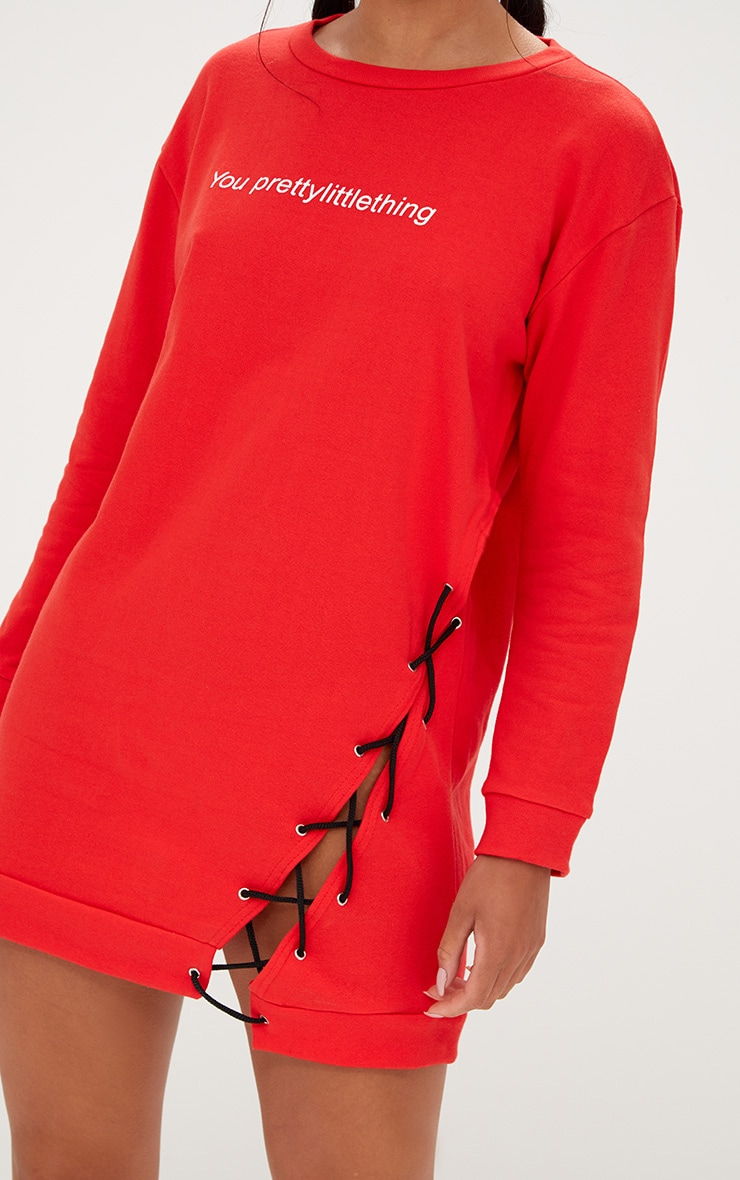 PRETTYLITTLETHING Red Lace Up Sweater Dress 5