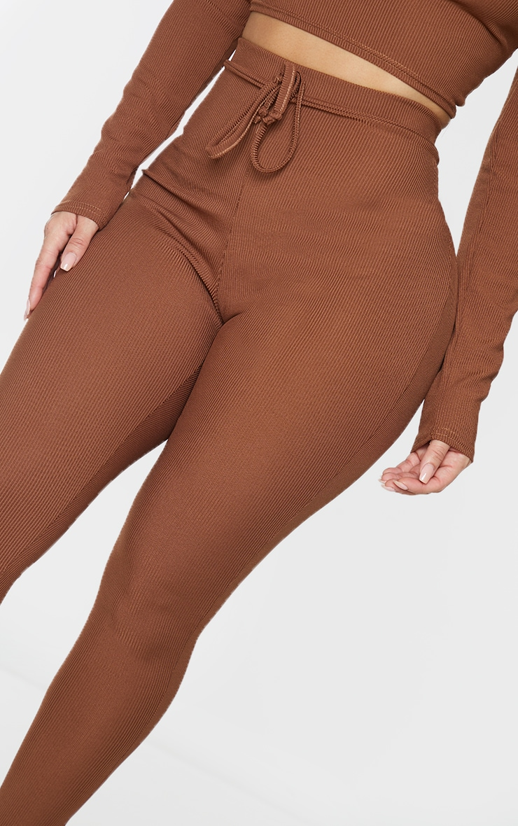 Shape Chocolate Brown Ribbed Detail High Waist Leggings 4