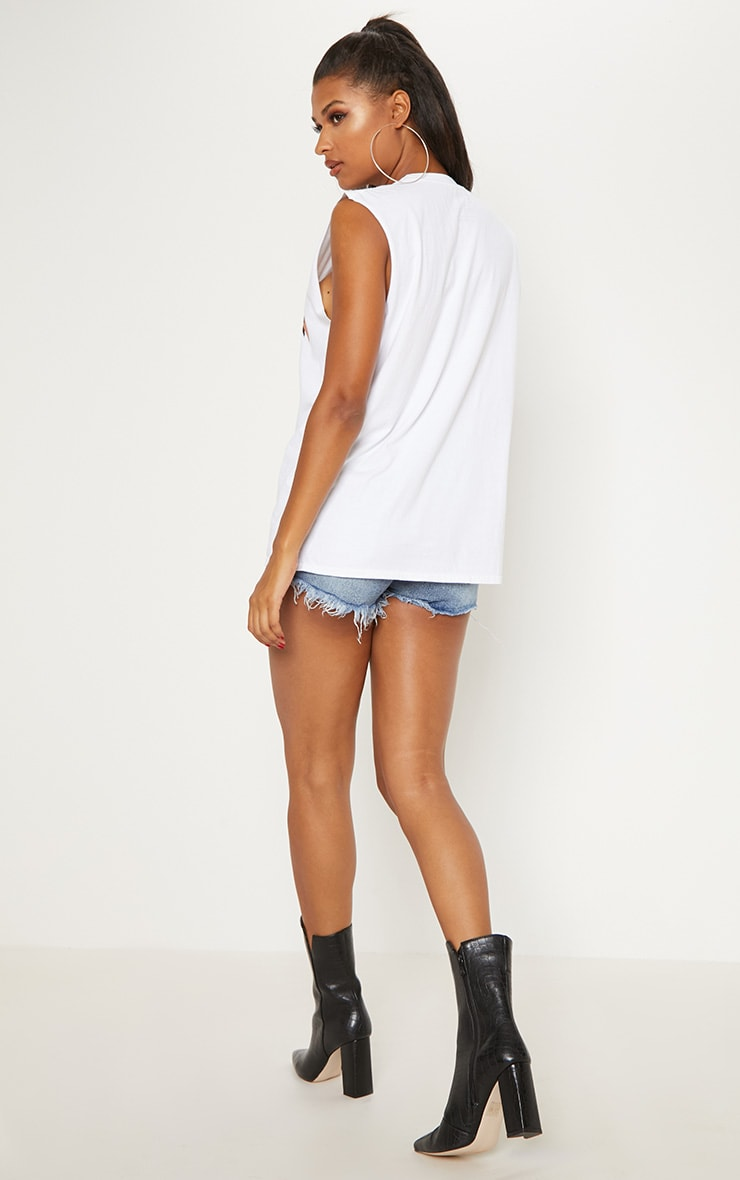 White Metallica Slogan Oversized Vest 2